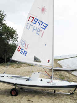 Laser Pro Sailboat on Seitech Beach Launching Dolly