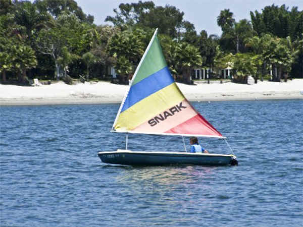Super Snark sailboat in action on the ocean