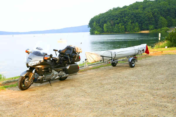 Trailex Canoe Trailer SUT-200-S being Towed by a Honda Goldwing Motorcycle